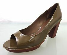 NEU CAMPER Designer Lackleder Peeptoe Pumps Gr.41 Shoes Khaki Braun 1031