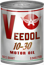 Veedol 10-30 Motor Oil Can Steel Cutout Sign Red Letters