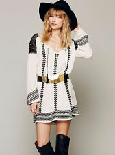 131543 New $148 Free People Wild Child Embroidered Embellished Tunic Dress S