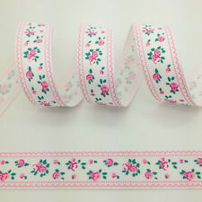 """NEW~Hot 5 yds 1"""" 25mm Printed FLOWERS Grosgrain Ribbon Hair Bow DIY Sewing #A34"""