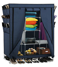 "69"" Portable Closet Storage Organizer Clothes Wardrobe Shoe Rack Shelves, Blue"