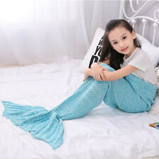 Mermaid Tail Crocheted Sofa Blankets Beach Quilt Rug Knit Cocoon Throws Cosplay