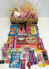 RETRO SWEET WICKER EFFECT HAMPER CANDY  GIFT BIRTHDAY PRESENT HARIBO