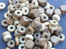 APPROX 100 NATURAL COLOURED WOODEN BEADS - BEAUTIFUL!