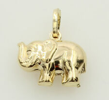 14K Yellow Gold Small Elephant Raised Trunk Hollow 3D Puffed Charm Pendant