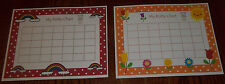 2 Laminated Flowers and Rainbows Potty Charts.  Health and Hygiene Accessories.