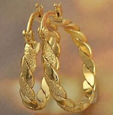 "Awesome New 9K Solid Yellow Gold Filled 1"" Braided Twist Round Hoop Earrings"