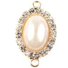 6pcs Gold Dot Rhinestone Inlay Oval Pearl Alloy Connector Pendants Handmade D