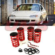 88-00 Honda Civic 94-01 Integra Lowering Coilovers Sleeves Adjustable Spring Red