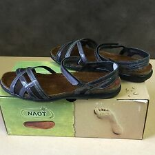 NEW,Genuine NAOT Karen Leather Sandal Shoes in Armor Patent and Gray Mesh-Size38
