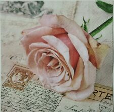 POSTCARD ROSE 2 single paper napkins for decoupage LUNCH SIZE  3-ply