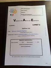 """LIVRET 2 COMPLÉTÉ VAE BTS HOTELLERIE RESTAURATION OPTION A""""MERCATIQUE GESTION"""""""
