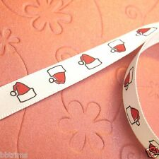 "10 x Yds 3/8"" Satin Santa's Hat Christmas Ribbon XR09"