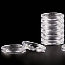 10pcs 40mm Applied Clear Round Cases Coin Storage Capsules Holder Plastic