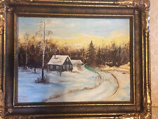 "Nice KH Hess ""Winter Rural Home Scene"" Oil Painting - Signed And Framed"
