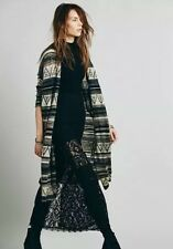 Free People Sweater Long Maxi Coat Cardigan Navajo Tribal Navy Combo XS S M