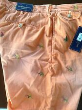 ;NEW RALPH LAUREN POLO SHORTS FLAT CHINO ORANGE WITH FISHING FLYS ALL OVER 42