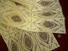 LARGE Antique Vtg PETIT POINT STYLE EMBROIDERY ALENCON LACE RUNNER DRESSER SCARF