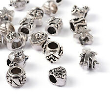 100pcs Silver Color Alloy Metal Beads Large Hole European Beads Charms Bracelets