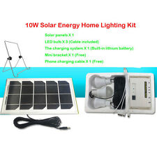 10W Solar Charging DC USB Phone Panel Kit Led light Fan Power