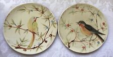 2 Pier 1 Imports Hand Painted Earthenware Bird Luncheon Plates - Italy