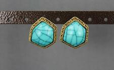 antiqued Gold tone Turquoise big bead oval hexagon stud post dangle earrings