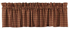 New Primitive Country Sturbridge Burgundy WINE & TAN PLAID Check Curtain Valance