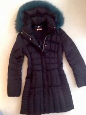 LAURÈL Daunen-Mantel Daunen-Jacke Fell down jacket black fur schwarz w.NEU 34 36