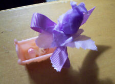 24 BABY GIRL  SHOWER FAVORS -BABY IN PINK CRADLE W/LT PURPLE BOW & ROSE BUD