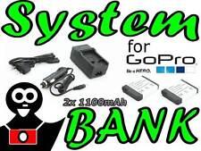 Netzladegerät Ladegerät + 2x Akku für AHDBT-002 ABPAK-001 GoPro HD HERO2 HERO 2