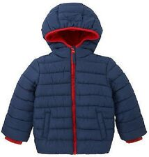 BNWT MOTHERCARE Boys Navy Padded Coat Jacket Red Hooded 4-5 years Fleece Lined