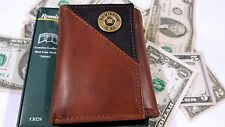 Trifold Wallet Remington Men's Genuine Brown 2 tone Leather 12 Card Slots NWT
