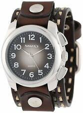 Nemesis BDT091K Men's Wide Brown Leather Cuff Band Gradient Black Dial Watch