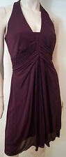 KAREN MILLEN Plum Burgundy Halter Neck Ruched Front & Skirt Evening Dress UK10