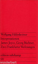 *- INTERPRETATIONEN James JOYCE, Georg BÜCHNER - Wolfgang HILDESHEIMER tb (1969)