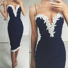Women Elegant Bodycon Dress V Neck Floral Lace Evening Party Formal Long Dress