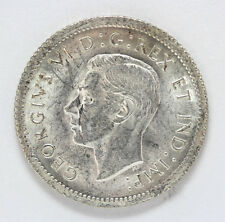 1939 Canada Silver 10 Cent Georgivs VI Km34 Re-Engraved - AU #01279301g