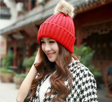 Women Lady Hand Knit Crochet Ski Hat Ball Beanie Beret Braided Baggy Cap Red