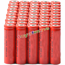 50x 4.2V 18650  Li-ion 6000mAh Red Rechargeable Battery for LED Torch