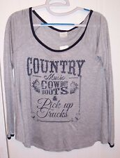 Woman's Gray Shirt / Top by Four Girlz - Country Music, Cowboy Boots &..:Size: M