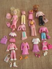 "Polly Pocket Doll Lot ""Colors of the Rainbow"" Pink Clothes Outfits Pet 6-40"