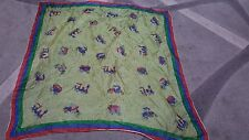Foulard vintage scarf woman 65x65 Tiziano blue red green locomotive car carriage