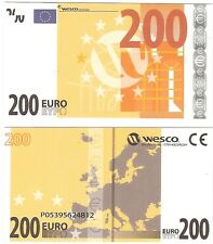 Europe 200 Euro Polymer Wesco Type 1 NEUF UNC Educational Test Note Banknote
