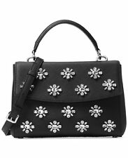 NWT Pack MICHAEL KORS Leather Ava Jewel Crystal Small Satchel XBody Black Silver