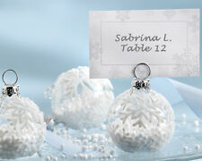 204 White Winter Snowflake Glass Ornament Place Card Photo Holder Wedding Favor