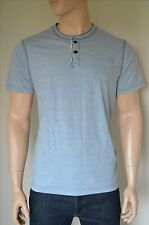NEW Abercrombie & Fitch Classic Striped Henley T-Shirt Tee Blue XXL