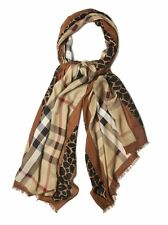 NEW Burberry Animal Haymarket Check Modal and Cashmere Soft Scarf Brown $565