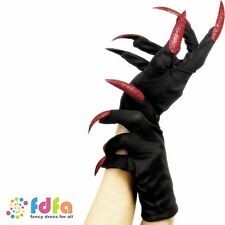 BLACK HALLOWEEN GLOVES WITH RED GLITTER NAILS ladies womens fancy dress costume