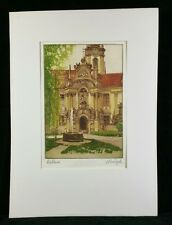 1965 Signed Colored Authentic Etching of Courtyard w Clock Tower West Euro EXC