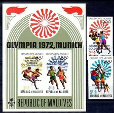 Maldives 1973 GERMANY OLYMPICS/WINNERS imperforated + S/S CV.$20.25 (for PERF.)